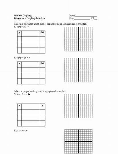 Linear Worksheet Equations Graphing Graph Function Tables