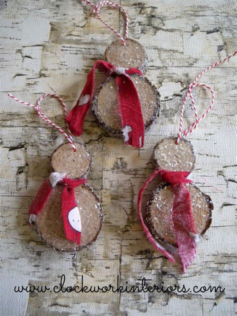 how to make wooden ornaments hometalk how to make wood slice snowmen ornaments