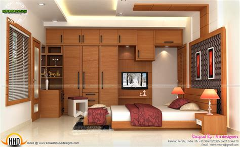Interiors of bedrooms and kitchen - Kerala home design and