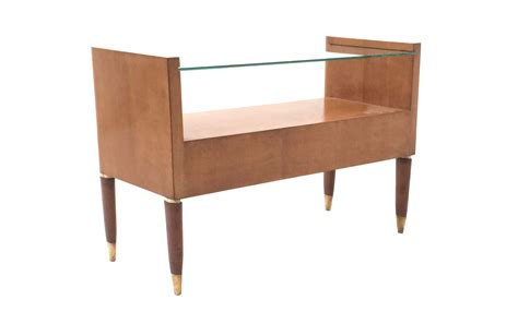 Italian Walnut Nightstand With A Glass Top, 1940s For Sale