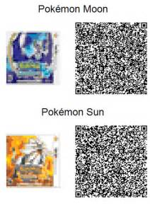 Pokemon Sun and Moon Acnl QR Codes