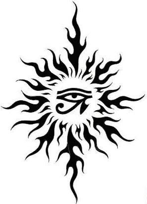 sun tattoo, Horus eye   Sun tattoos, Sun tattoo designs, Sun tattoo tribal