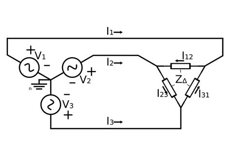 file 3 phase power connected to delta load svg