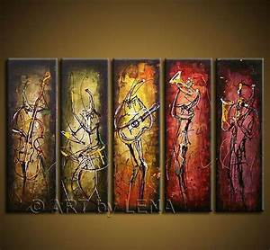 Free shipping Hand painted wall art Abstract Music Oil ...