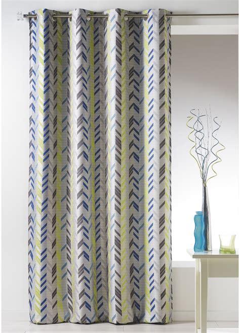 rideau bouchara en jacquard 224 rayures verticales bleu