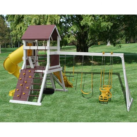 amish made vinyl clad olympic jumper swing set swing set