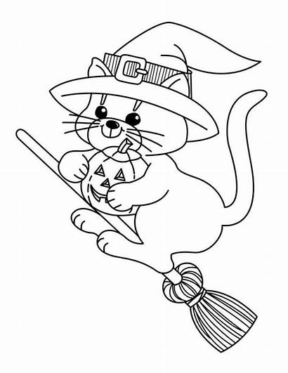 Witch Coloring Pages Halloween Printable Cat