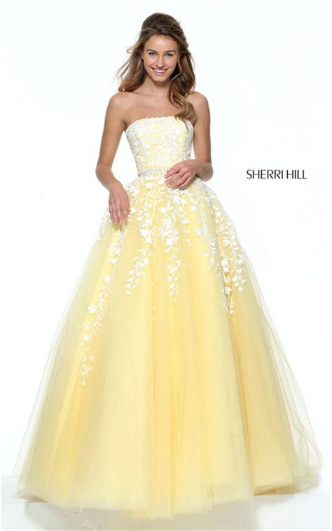 light yellow prom dresses 2017 sherri hill 50864 strapless light yellow ivory lace