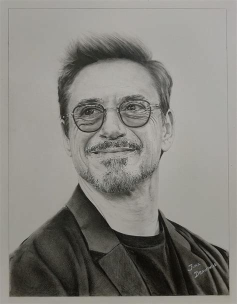 Robert Downey, Jr., Me, Graphite, 2020 : Art