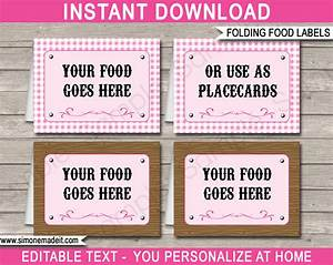 Cowgirl party food labels place cards cowgirl theme party for Food label template for party