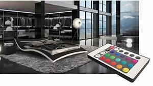 lit moderne noir et blanc en simili avec leds 160x200 cm With tapis kilim avec canapé lit 160x200