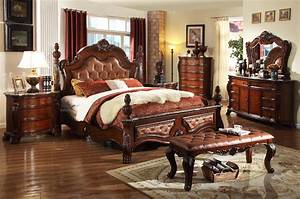 Meridian, Luxor, King, Size, Bedroom, Set, 7pcs, In, Rich, Cherry, Hand, Carved, Traditional, Luxor