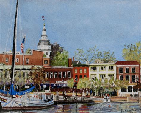 Annapolis Boat Canvas by Annapolis Harbor Painting By Susan Vaughn