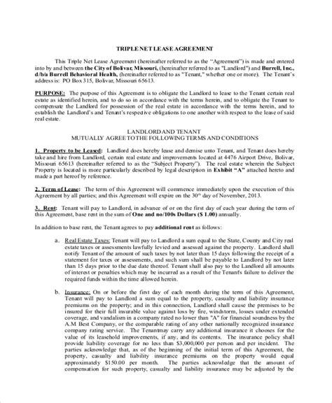 sample triple net lease form