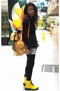 Yellow Doc Martens Boots Orange Topman Bags Silver Hu0026M Shorts   u0026quot;Mellow Yellowu0026quot; by jessaclare ...