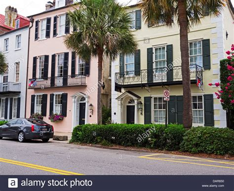 Houses In Rainbow Row, Charleston, South Carolina