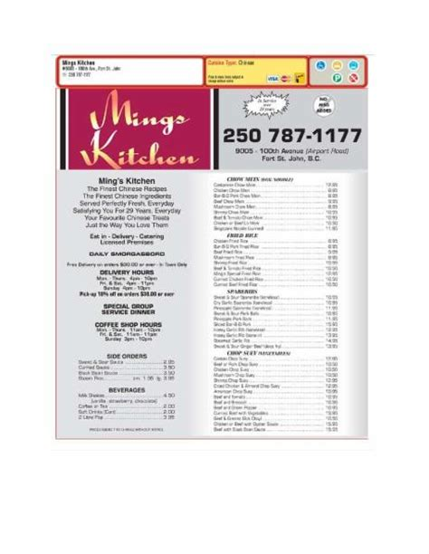 Mings Kitchen  Fort St John, Bc  9005 100 Ave  Canpages