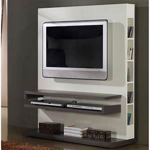 Meuble Blanc Et Gris : meuble tv design gris et blanc laqu deco et saveurs ~ Dailycaller-alerts.com Idées de Décoration