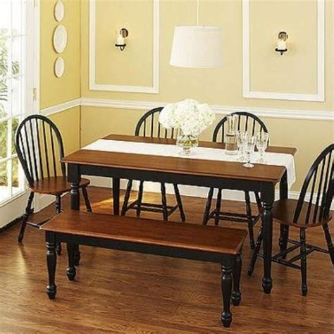 Kitchen Table Set With Bench by 6 Pc Black Dining Set Dinette Sets Bench Chair Table