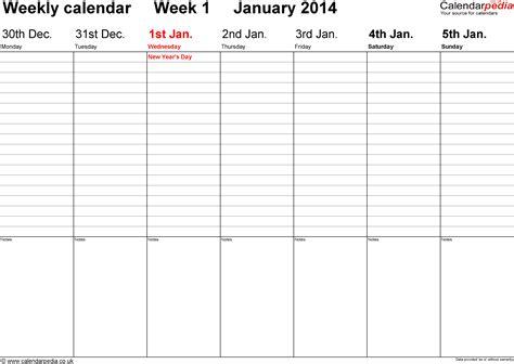 Free Weekly Calendar Template 2014 Costumepartyrun