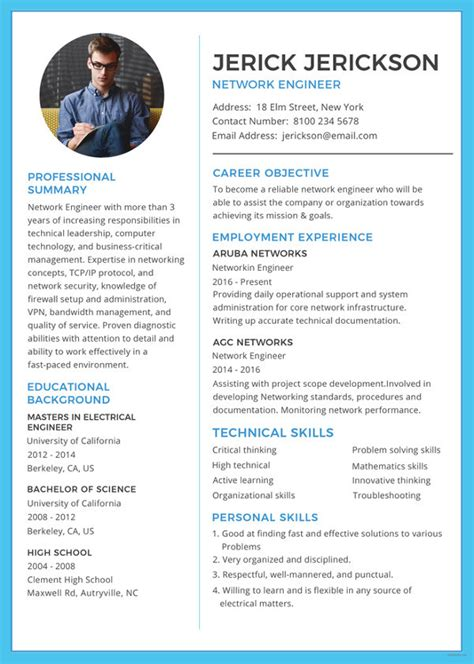 Resume Sles For Network Engineer by 6 Network Engineer Resume Templates Psd Doc Pdf