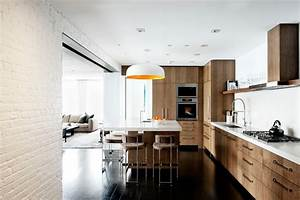 laight street loft industrial kitchen new york by With kitchen cabinets lowes with city wall art new york