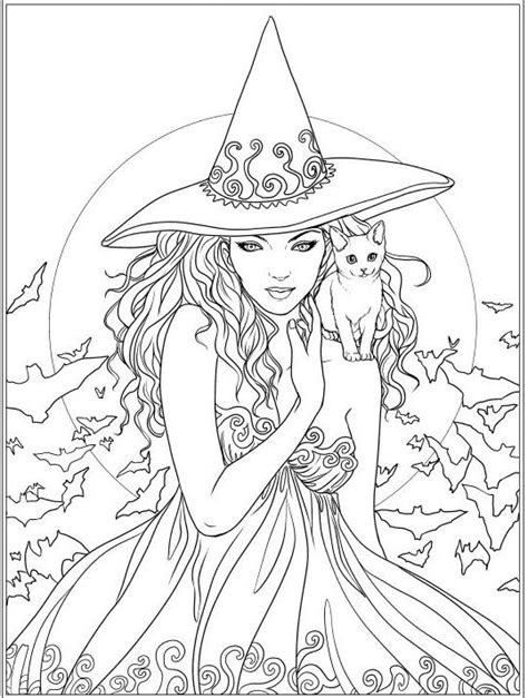 witch  cat coloring page coloring witch coloring