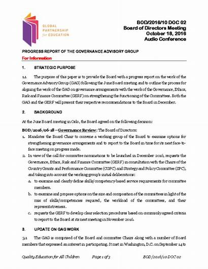 Progress Report Advisory Governance