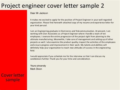 Project Engineer Cover Letter Sle by Attached Resume For Your Perusal