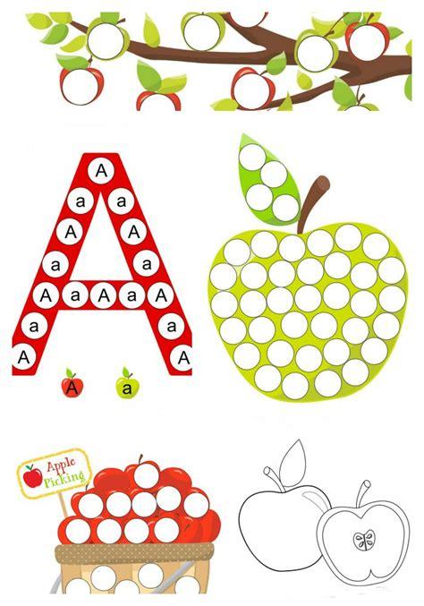 preschool   dot printables    apple