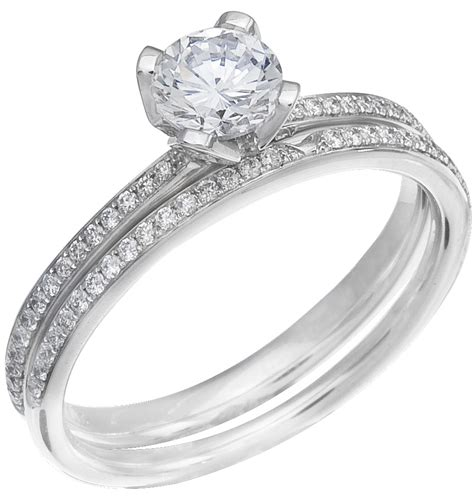 ladies white gold diamond engagement ring set