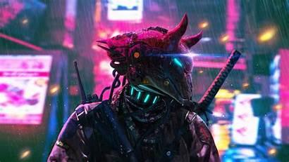 Cyberpunk Neon Sci Fi Futuristic Warrior Sword