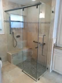 Glass Shower Door with Sliding Seat