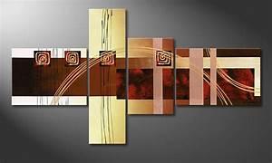 Toile Deco Salon : la toile pour salon golden ways 130x70cm tableaux xxl ~ Teatrodelosmanantiales.com Idées de Décoration