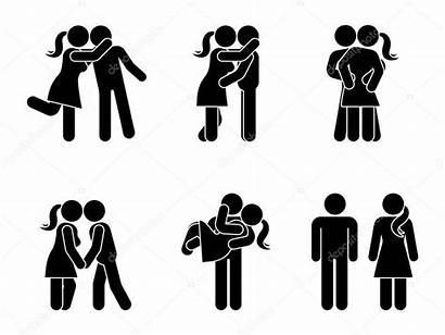 Stick Figure Couple Kissing Woman Vector Hugging
