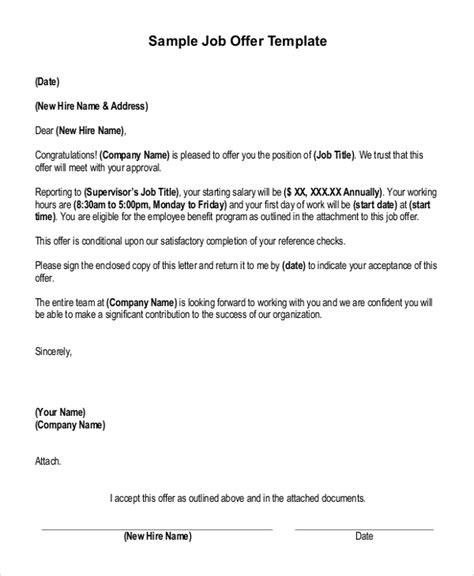 sample job offer letter templates  ms word