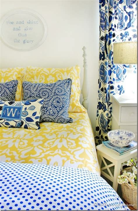 yellow and blue bedroom blue and yellow farmhouse bedroom thistlewood farm 17894 | blue and yellow farmhouse bedroom thumb