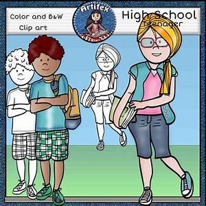 High School clip art- color and B&W by Artifex   TpT