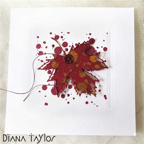 red maple leaf card  velvet moth studio fall cards