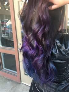 Balayage Dark Hair Purple