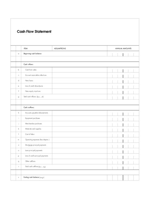 cash flow statement   templates   word excel