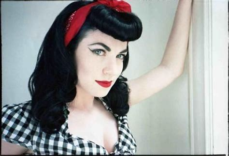 red bandana black hair faux bangs rockabilly pin ups