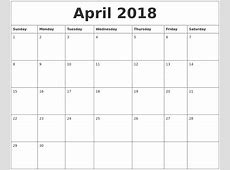 April 2018 Calendar Word calendar template excel