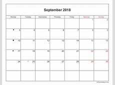 September 2018 Calendar Printable with Bank Holidays UK