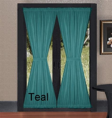 solid teal colored french door curtain    lengths