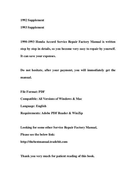 online service manuals 1990 honda accord parking system 1990 1993 honda accord service repair factory manual instant download