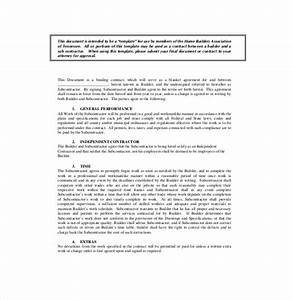 Subcontractor agreement template 16 free word pdf for Standard subcontract agreement template