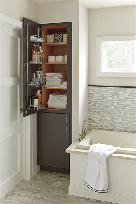 linen closet  removable hamper diamond cabinetry