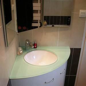 Lavabo D Angle Salle De Bain : meuble plan en verre avec vasque thermoform e atlantic bain ~ Nature-et-papiers.com Idées de Décoration