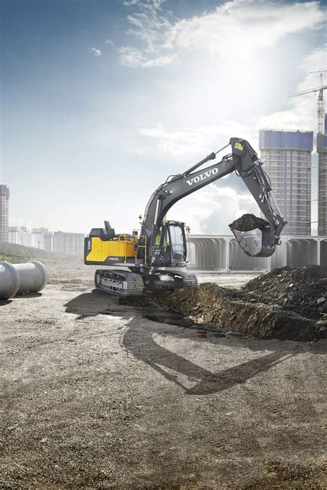volvo crawler excavator carries   onsite